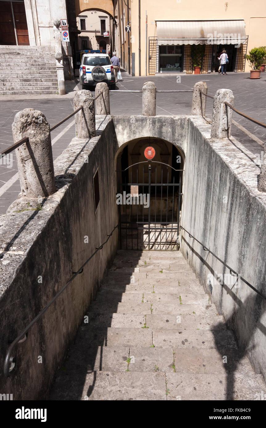 Orte, access to the Underground Fountain in Piazza della Libertà, Lazio, Italy - Stock Image