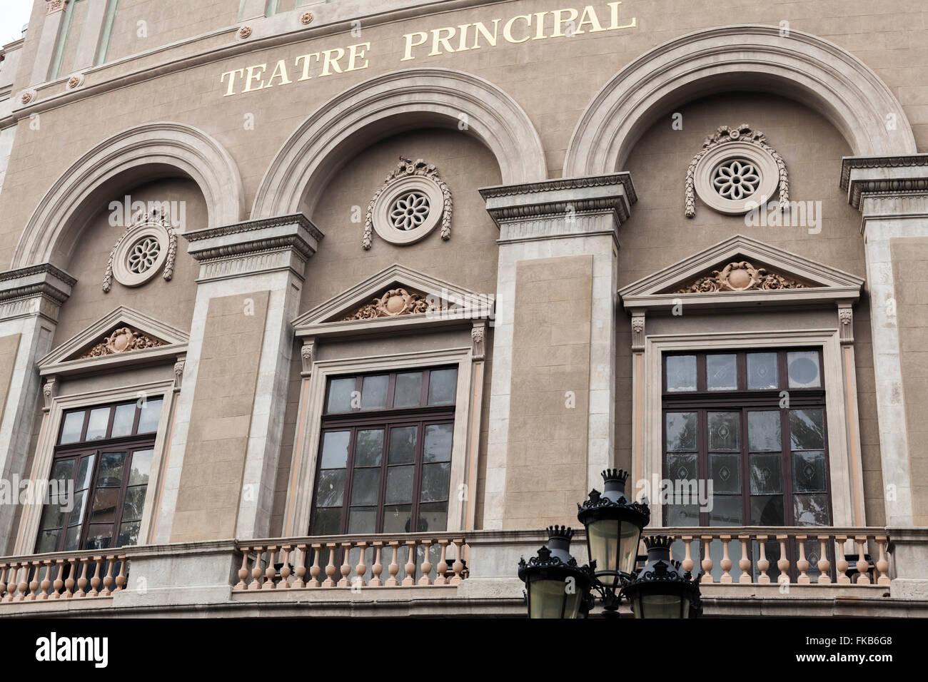 Teatre Principal, the oldest theater in the city, century XVI. La Rambla. Barcelona. - Stock Image