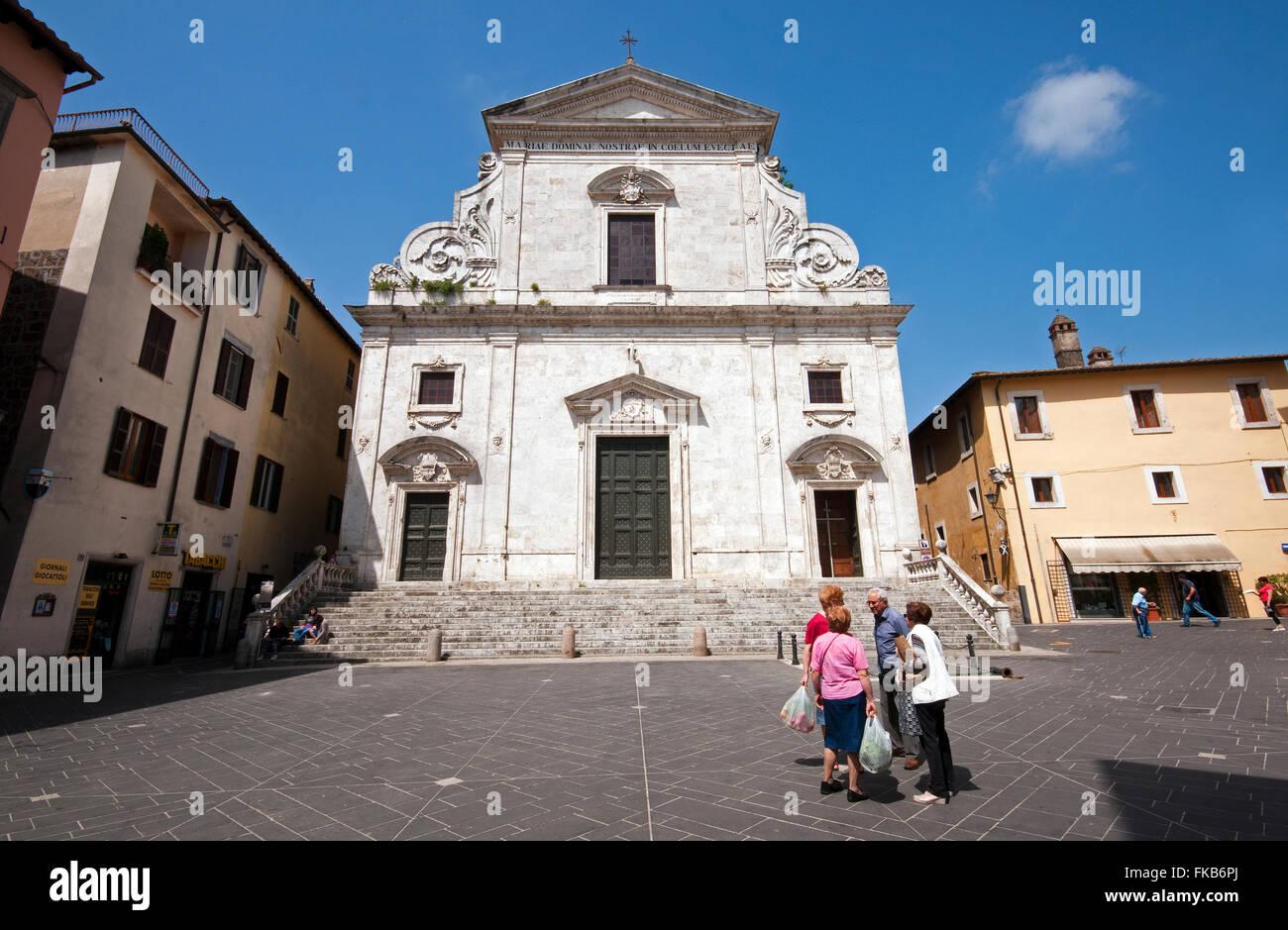 Cathedral of Santa Maria Assunta, Piazza della Libertà, Orte, Lazio, Italy - Stock Image