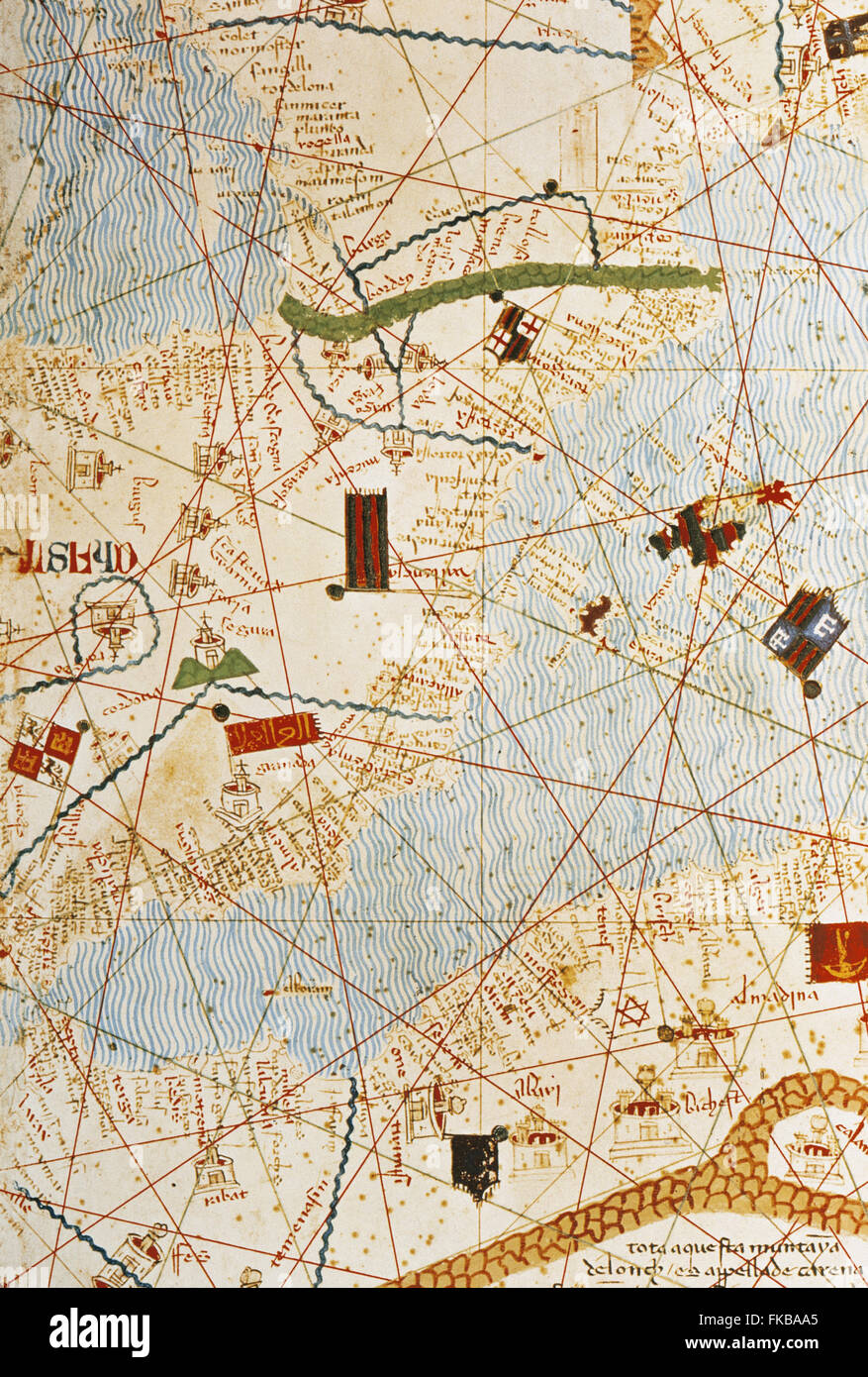 The Catalan Atlas, 1375. Attributed to the Majorcan Jewish cartographers Abraham and Jehuda Cresques, was service - Stock Image