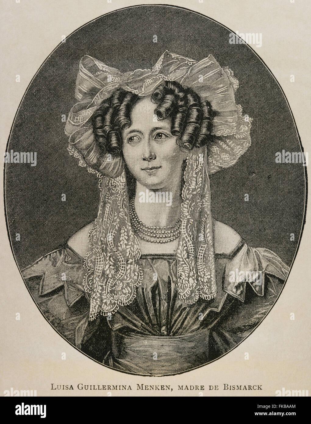 Luise Wilhelmine Mencken (19th century). Mother of Otto von Bismarck (1815-1898). Portrait. Engraving. Historia - Stock Image