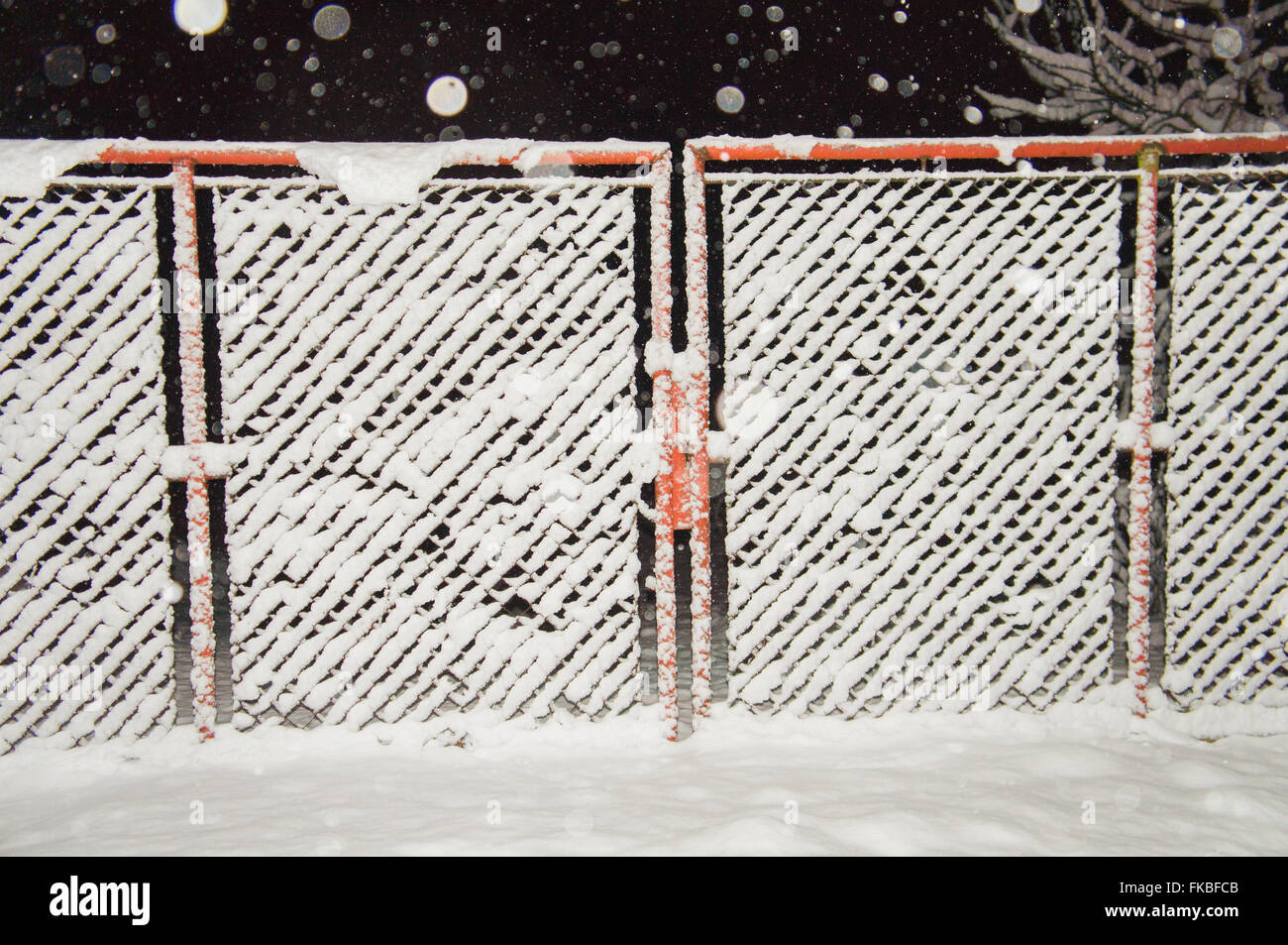 wire fence gate. Wire Fence Gate, Winter, Snow, Snowfall, Night Photo - Stock Image Gate E