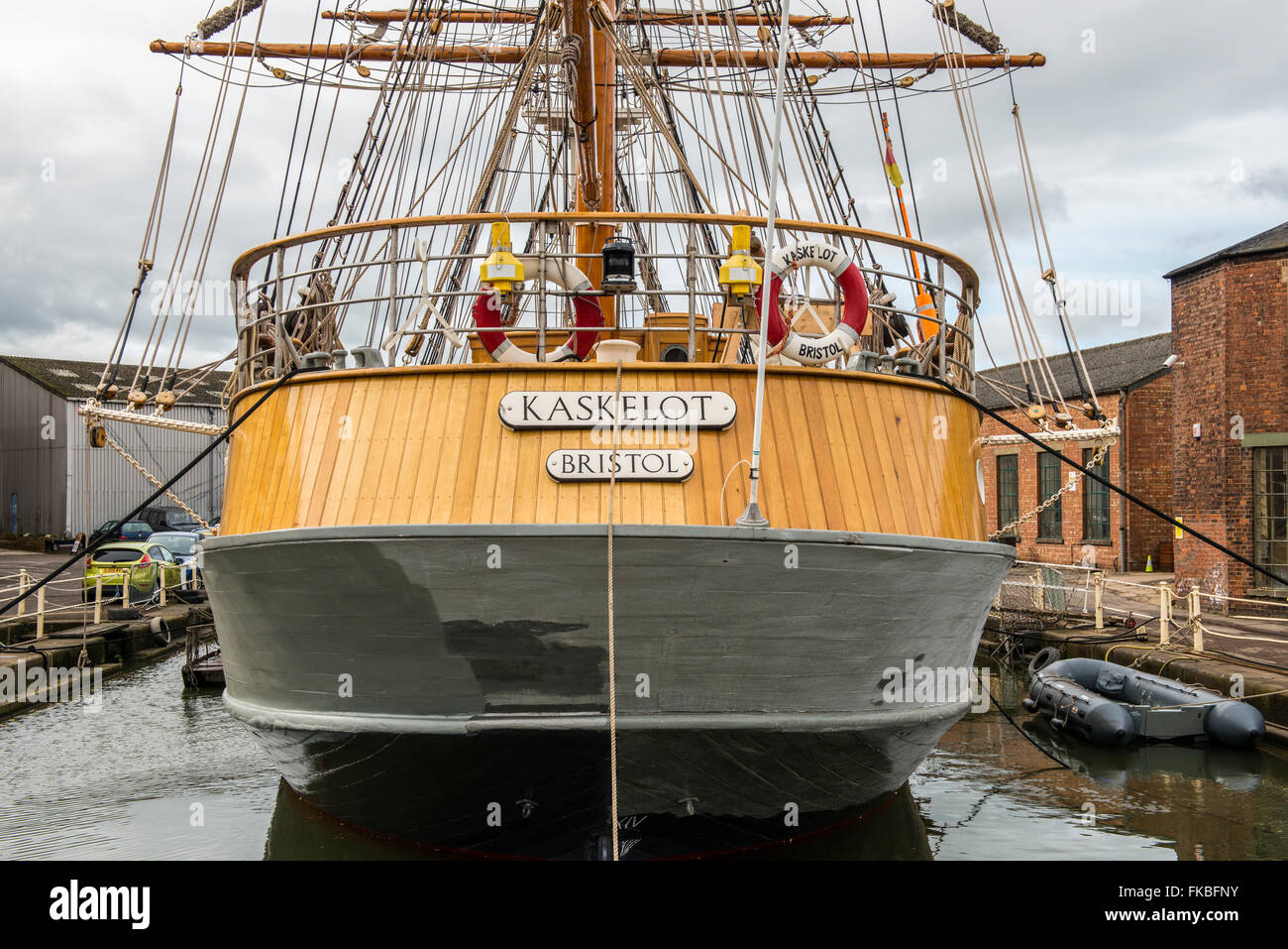 The Kaskelot, a three masted barque, based in Gloucester Quays. - Stock Image