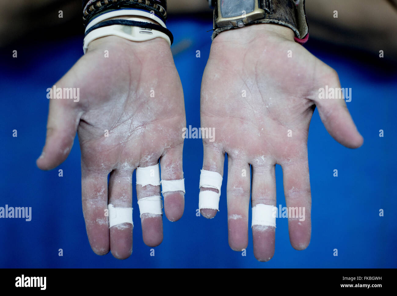 A close up of climbers hands at a bouldering competition at The Climbing Academy, Bristol. - Stock Image