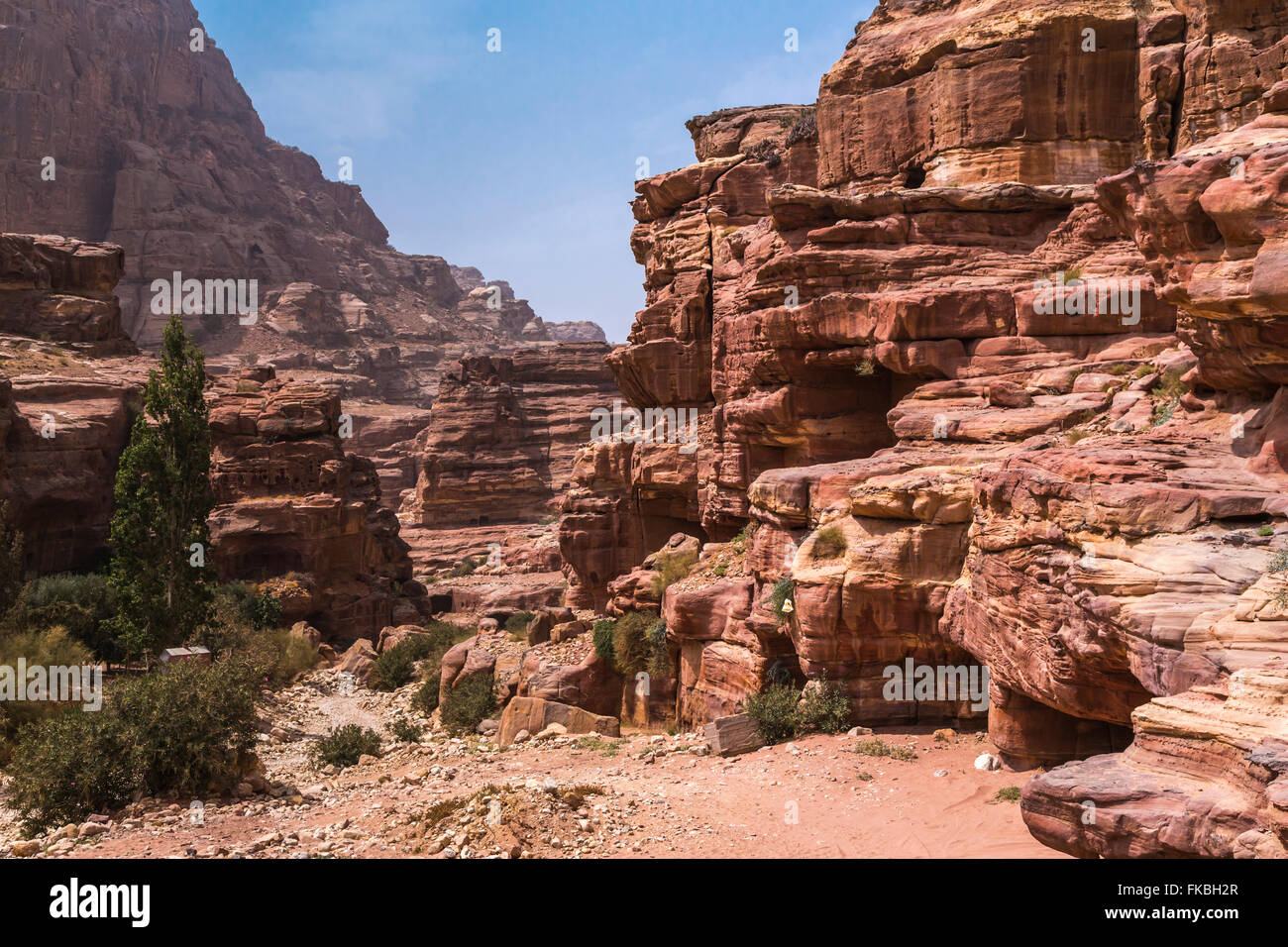 Rock formations in the carved red rock city of Petra, Hashemite Kingdom of Jordan. - Stock Image