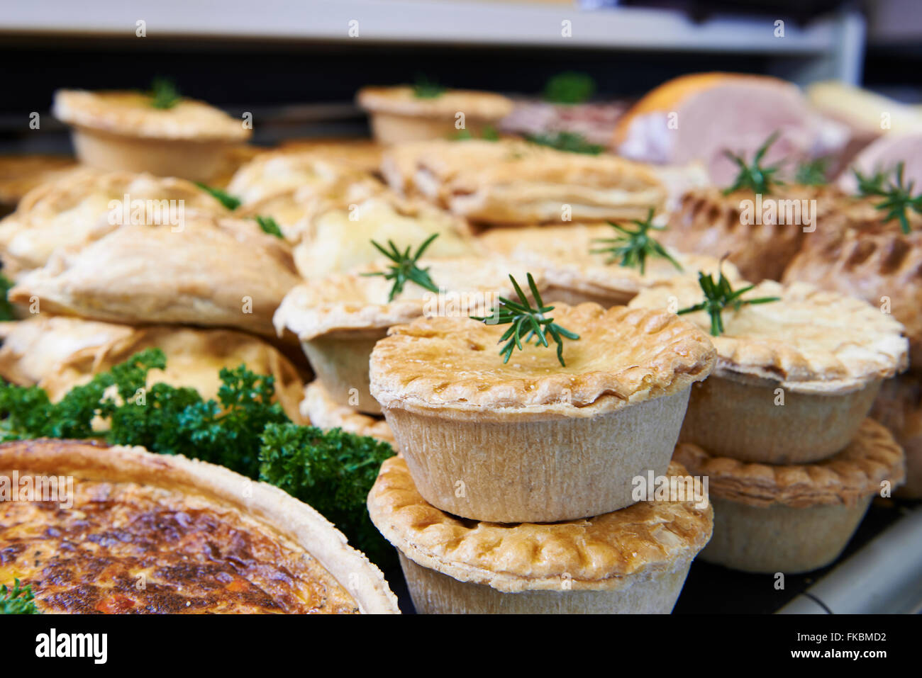Close Up Of Baked Savoury Goods In Delicatessen - Stock Image