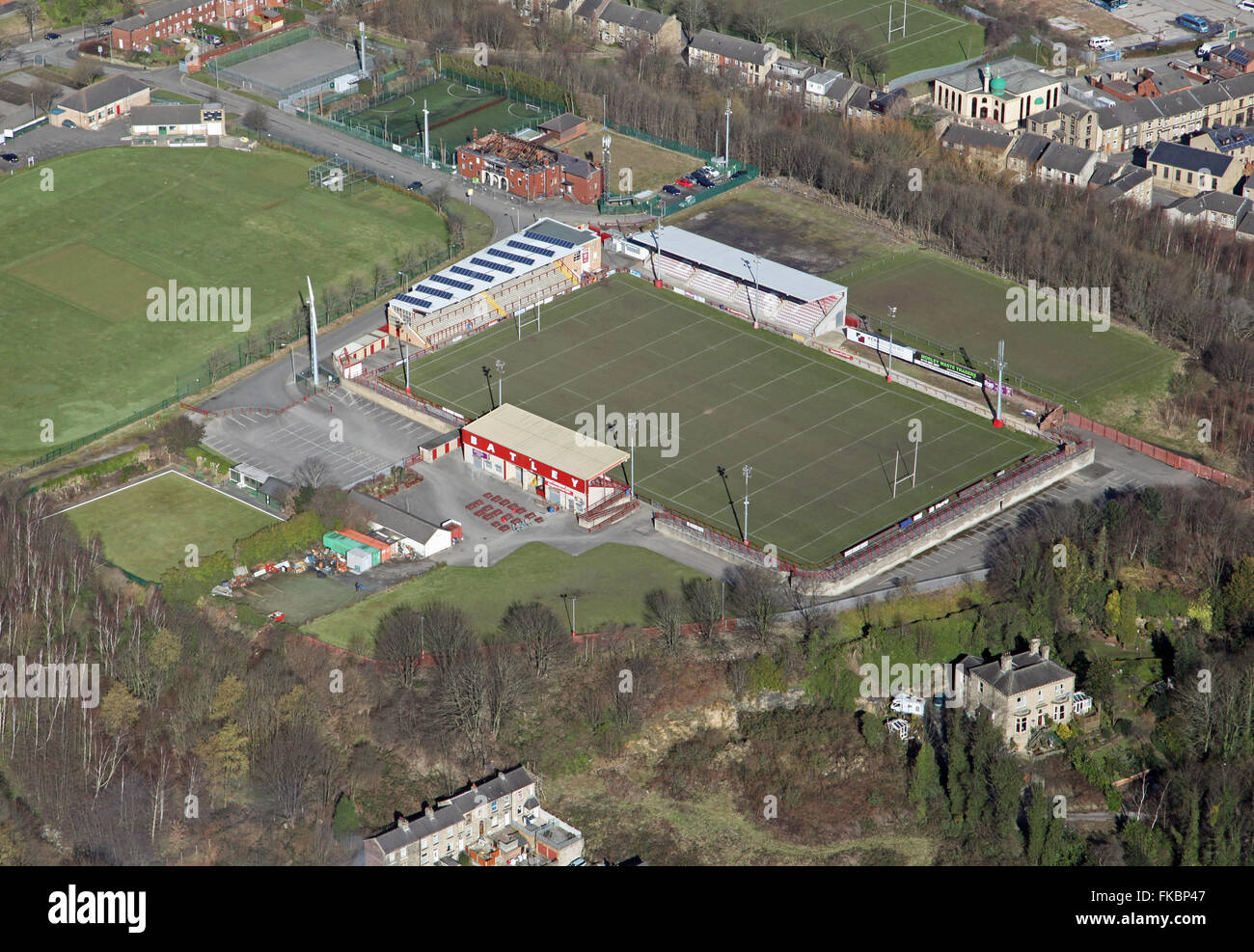 aerial view of Batley Rugby League ground near Dewsbury, West Yorkshire, UK - Stock Image