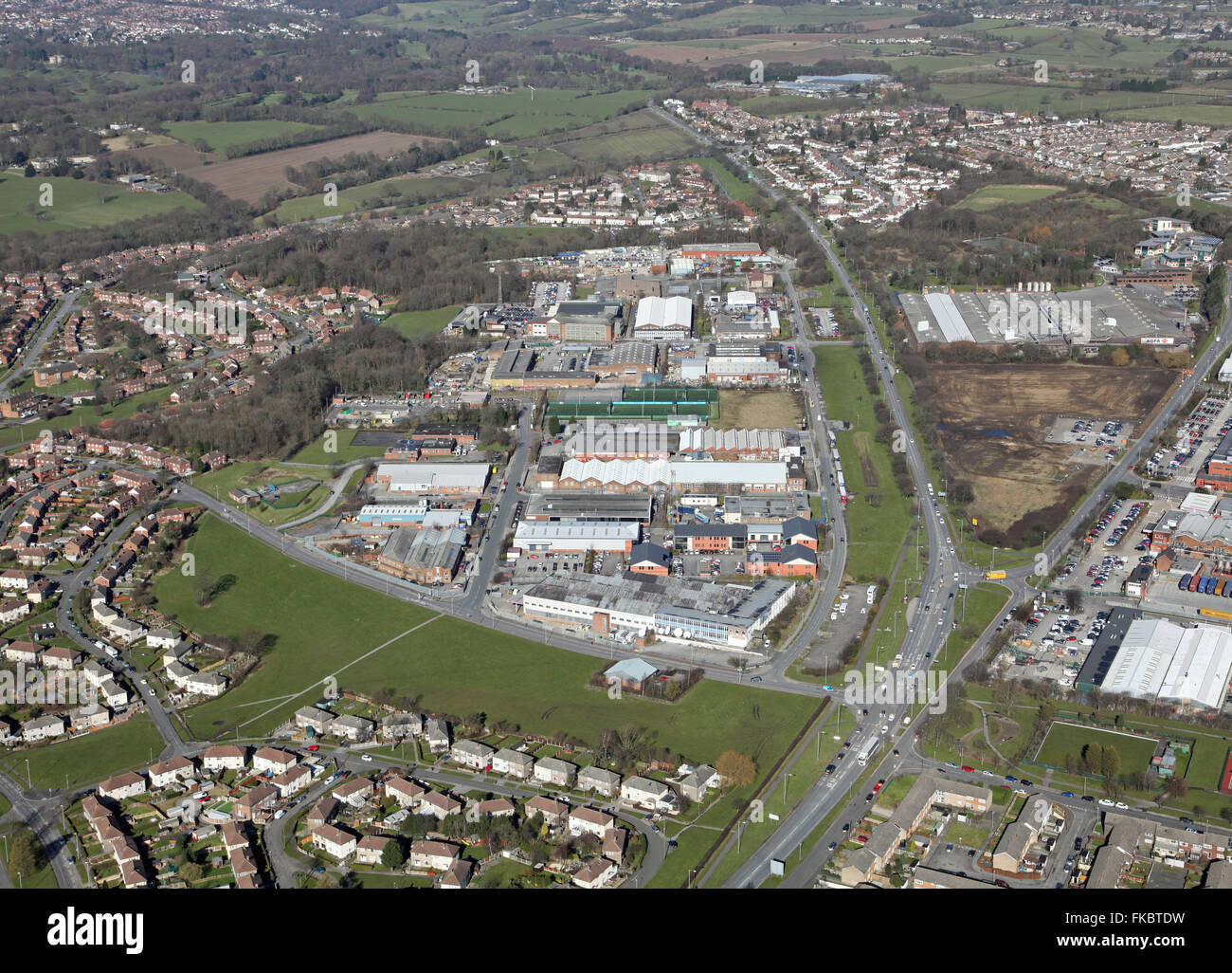 aerial view of Coal Road and Limewood Approach with the Leeds Ring Road A6120, UK - Stock Image
