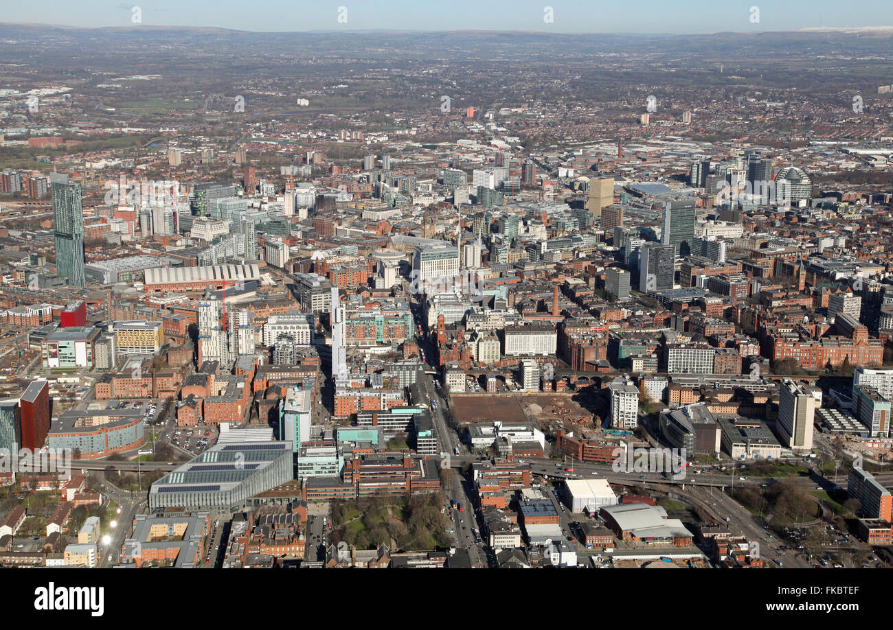 aerial view of the Manchester city centre skyline looking north, UK Stock Photo