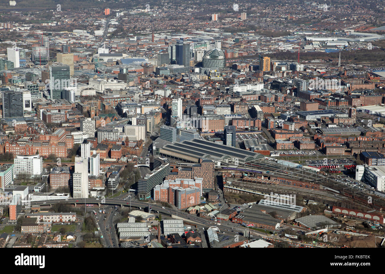 aerial view of the Manchester city centre skyline looking north across Piccadilly Station, UK Stock Photo
