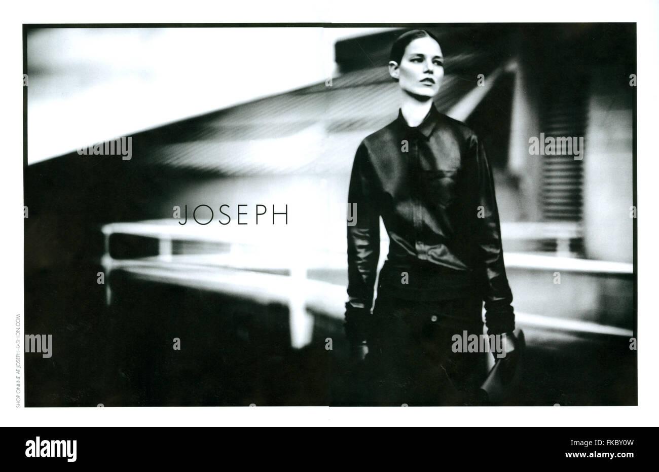 2010s UK Joseph Magazine Advert - Stock Image