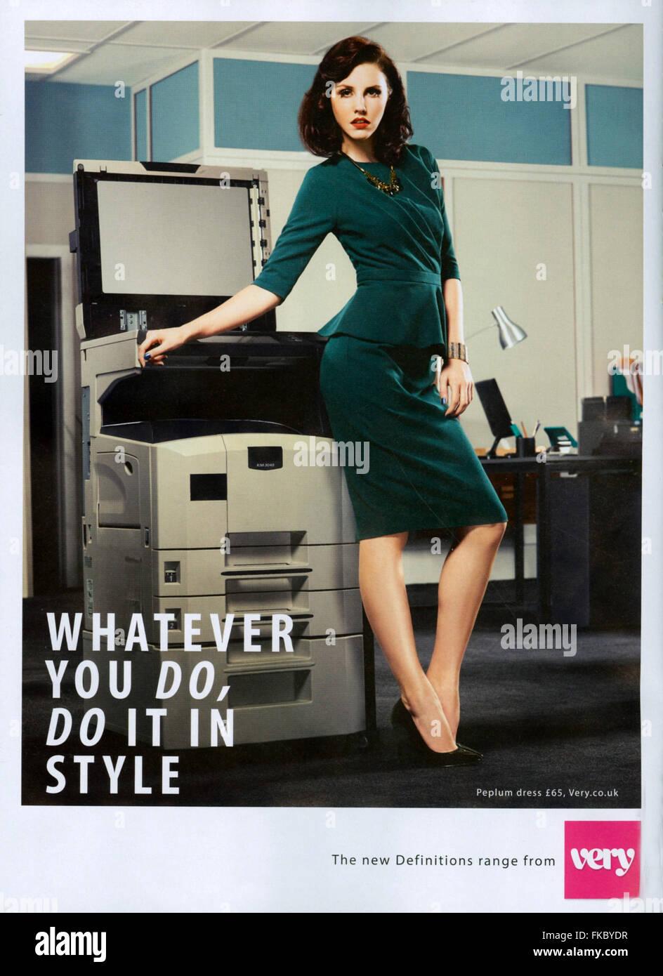 2010s UK Very Magazine Advert - Stock Image