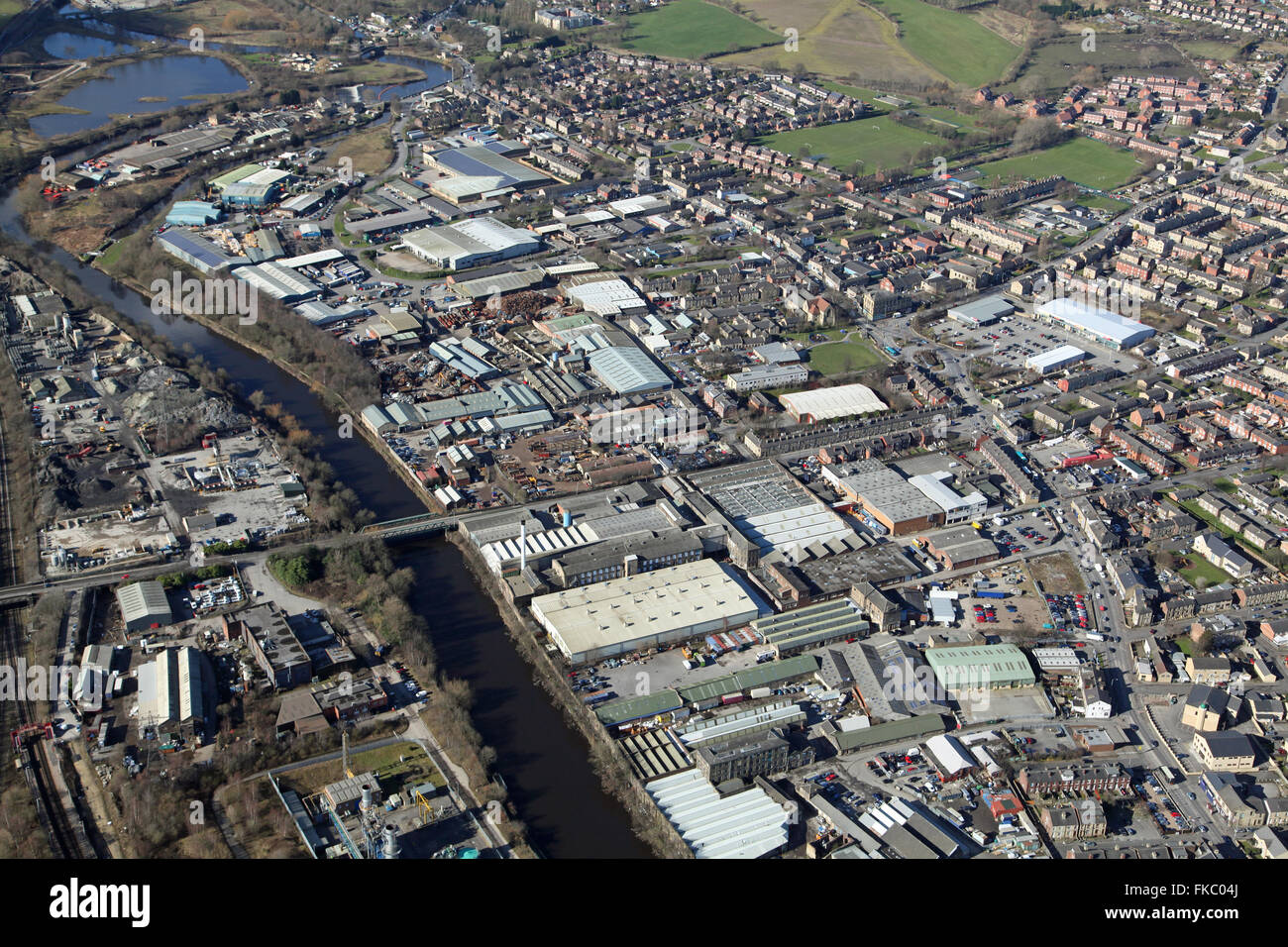 aerial view of Ravensthorpe Industrial Estate near Dewsbury in Yorkshire, UK - Stock Image
