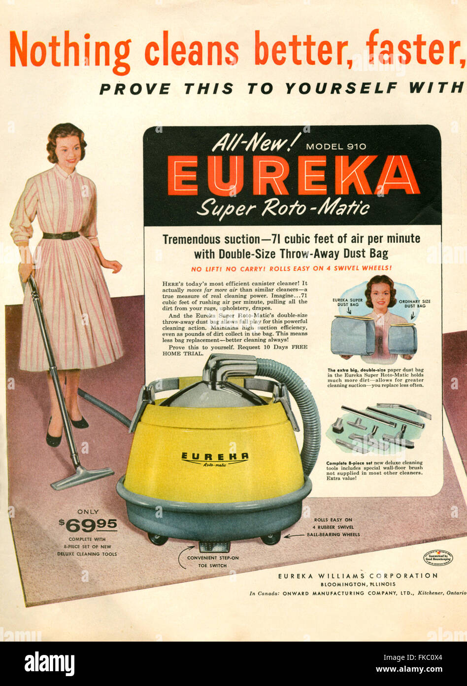 1950s USA Eureka Williams Corporation Magazine Advert - Stock Image
