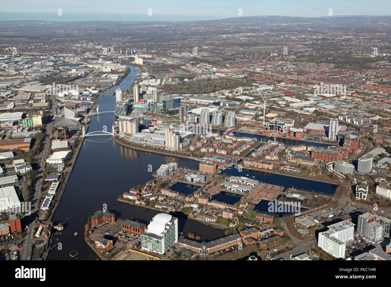 aerial view of Salford Quays near Manchester, UK - Stock Image