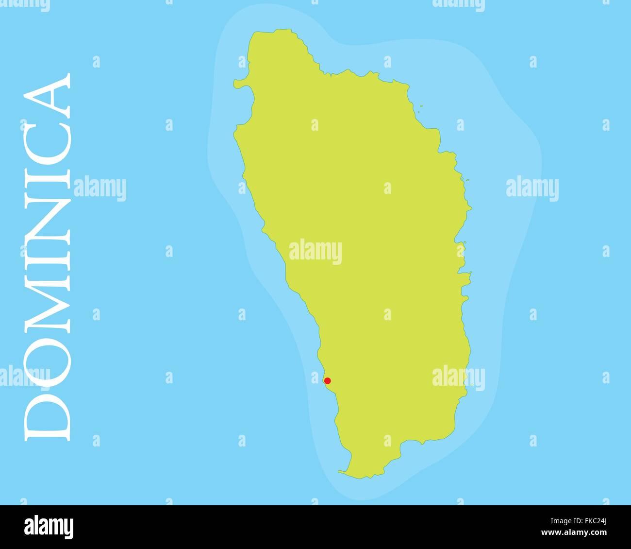 Map of Dominica island, Caribbean Sea Stock Vector Art ...