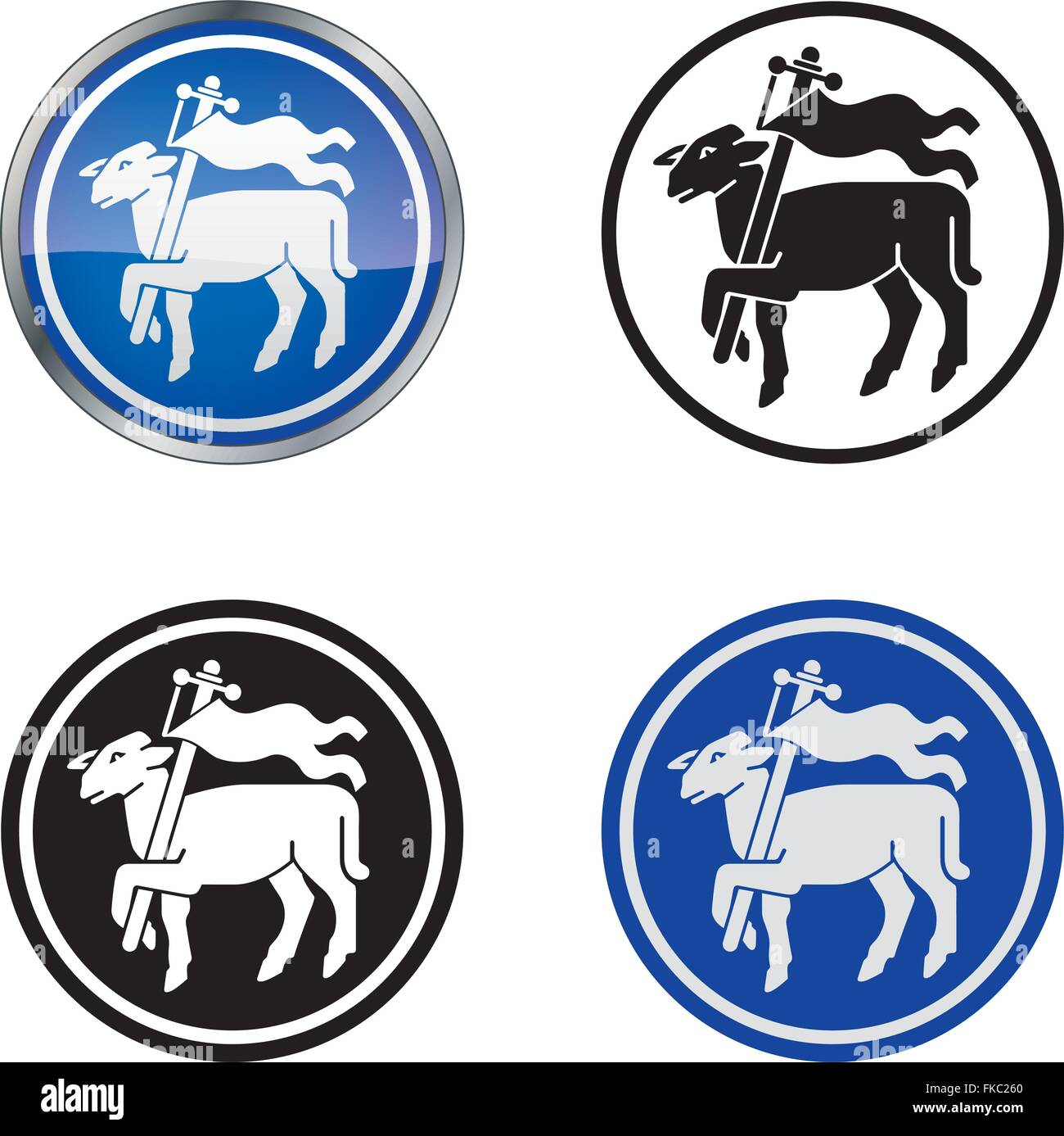 Traditional Butcher's Guild Vector Symbol, four variations - Stock Image