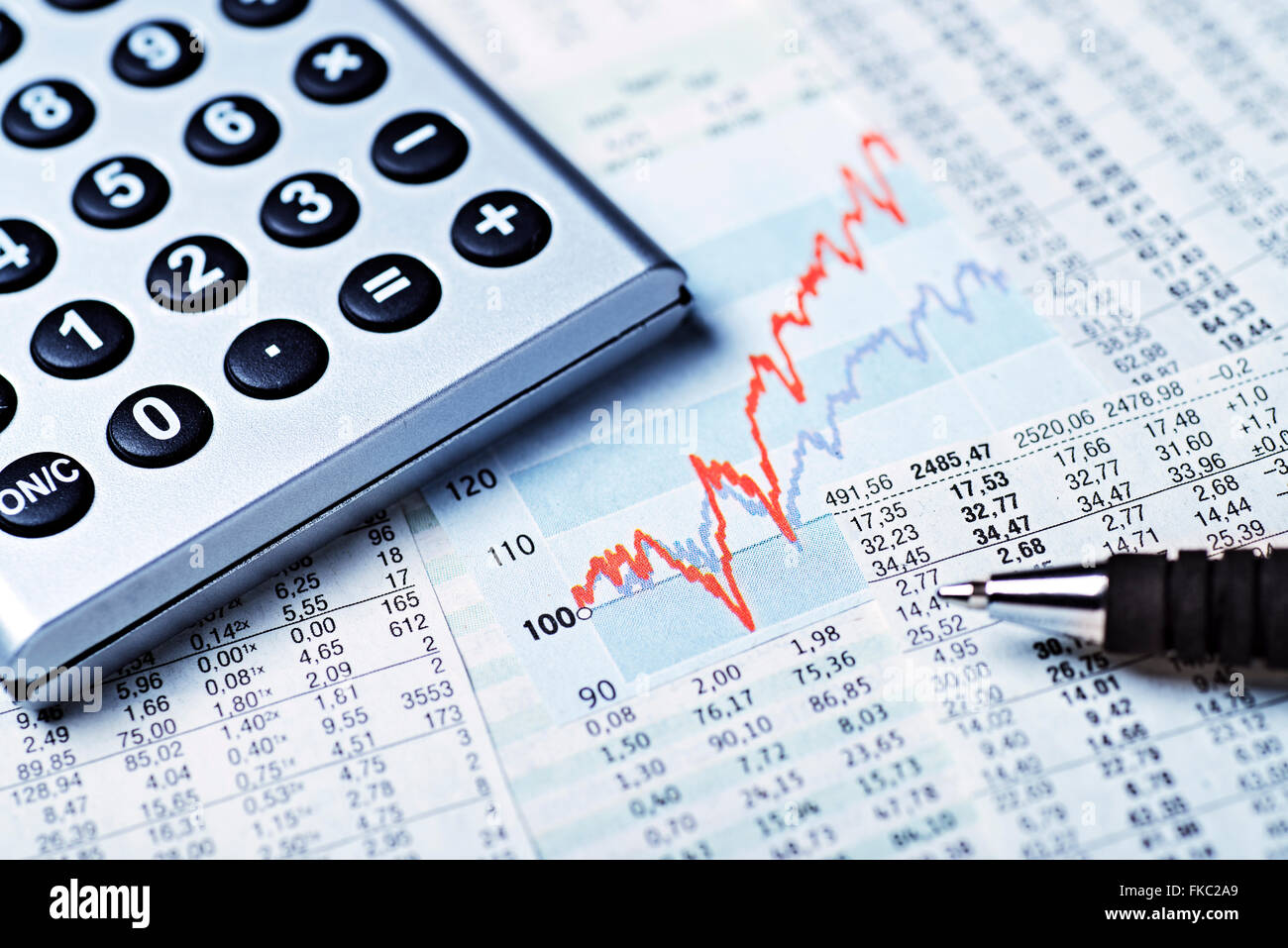 Diagram with market price, rate tables and calculators - Stock Image