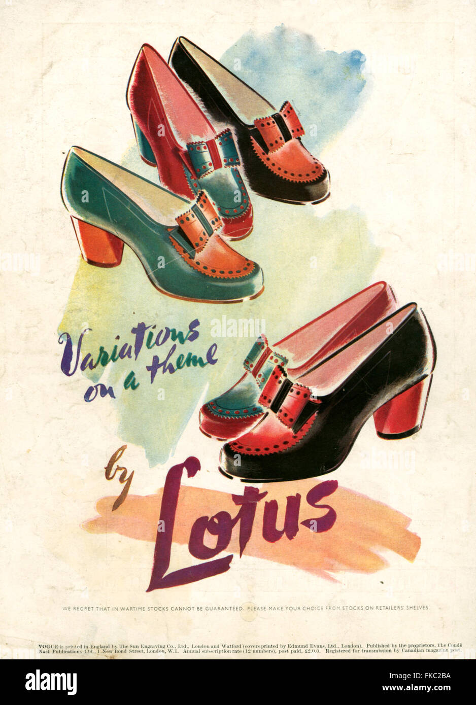 1940s UK Lotus Ltd Magazine Advert - Stock Image