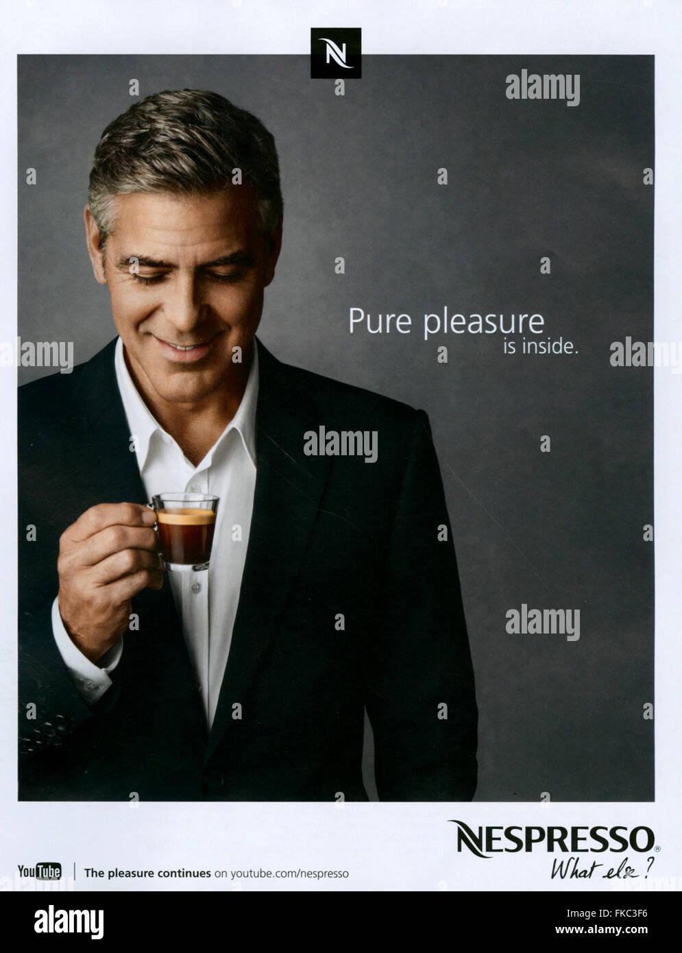 2010s UK Nespresso Magazine Advert - Stock Image