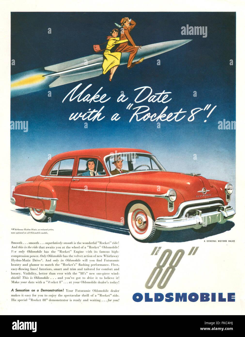 1950s Usa Oldsmobile Cars Magazine Stock Photos American Advert Image