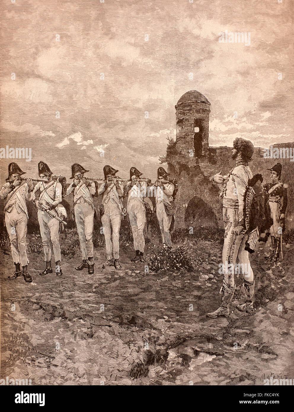 Italian Risorgimento October 13, 1815 -shooting of Gioacchino Murat - Stock Image