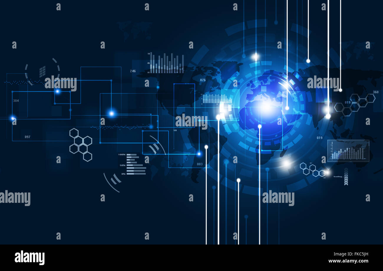 abstract net global communications concept blue background - Stock Image