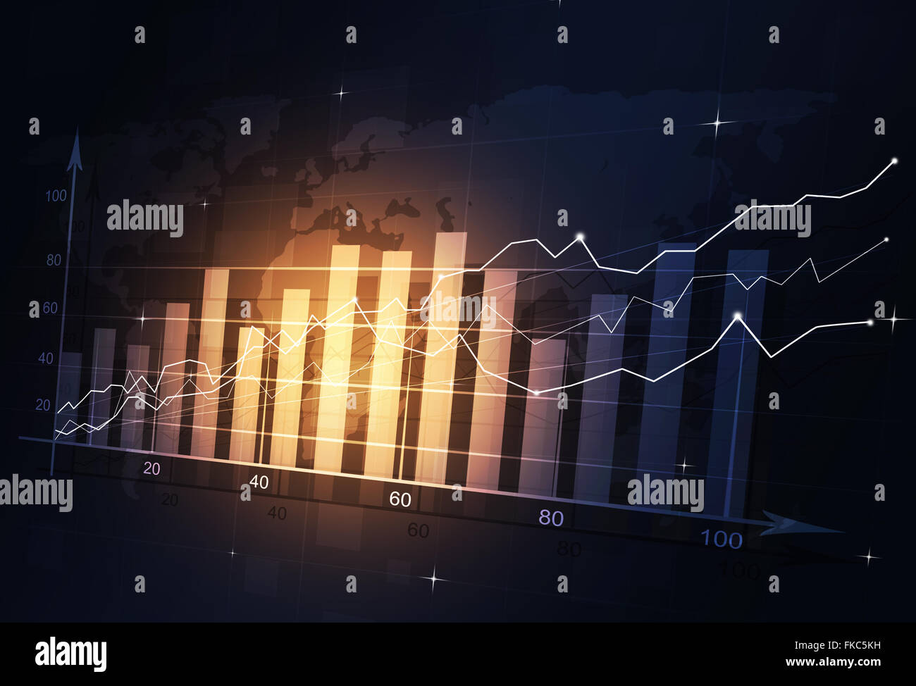 abstract stock market finance diagram on dark background - Stock Image