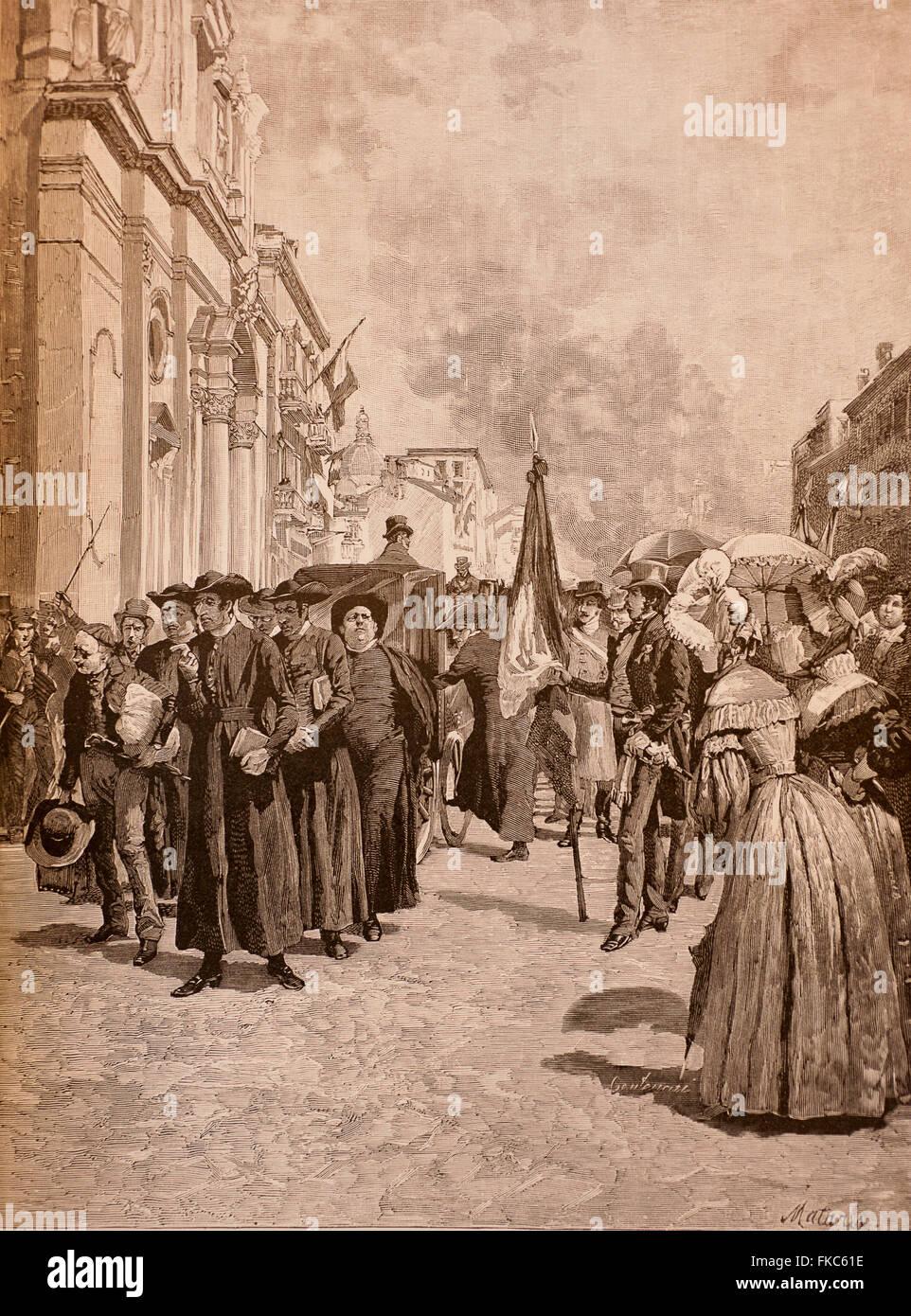 Italian Risorgimento February 12, 1831 expulsion of the Jesuits from Modena - Stock Image