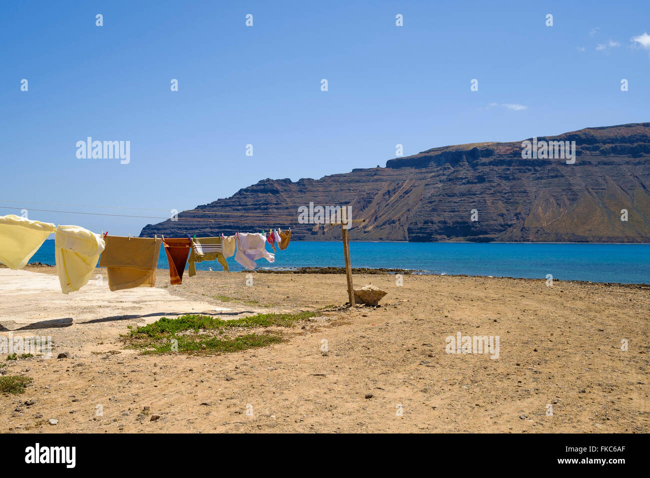 Colourful clothe line in Caleta de Sebo,La Graciosa, Canary islands,Spain,Europe - Stock Image