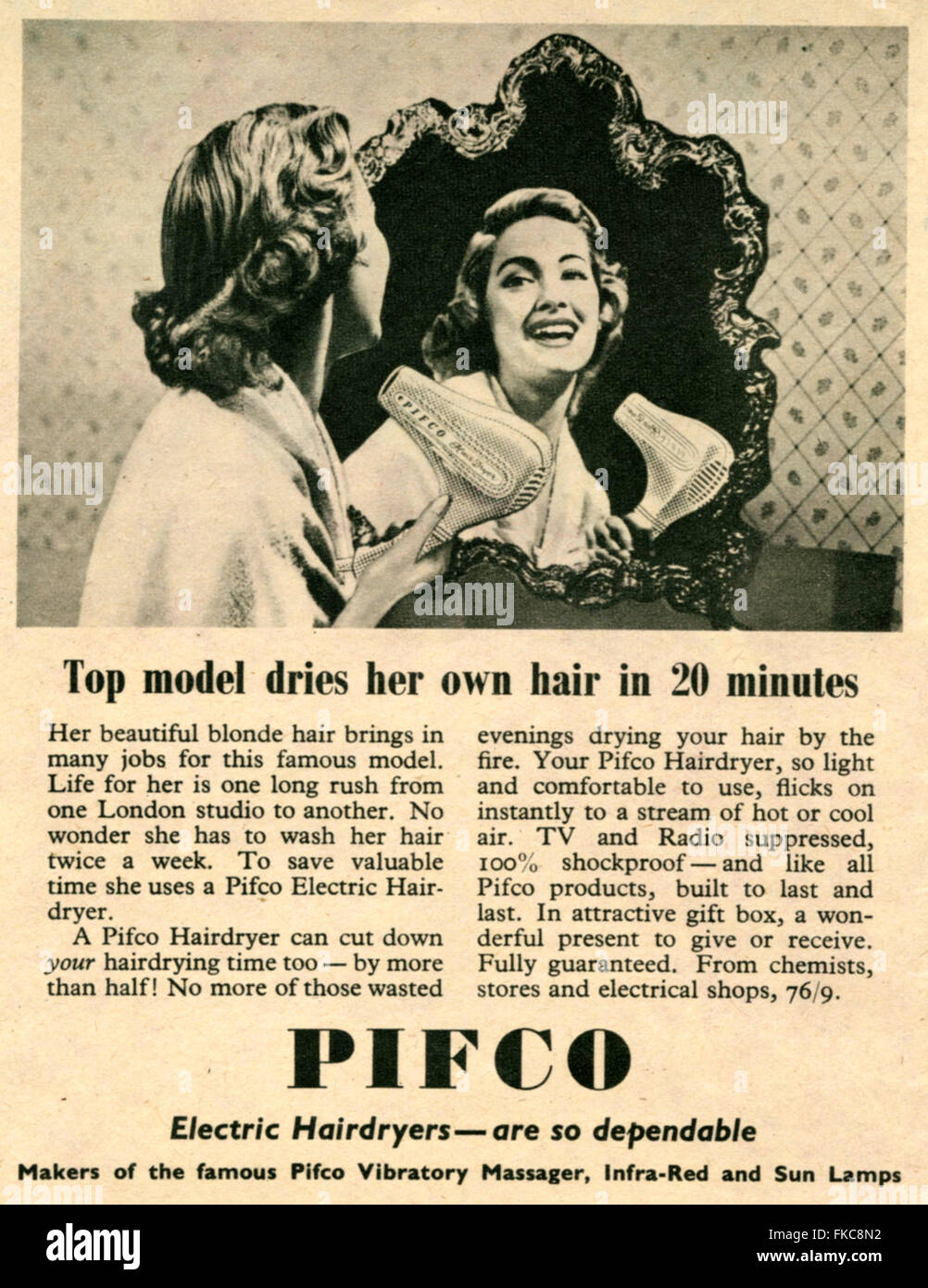 1950s UK  Magazine Advert - Stock Image
