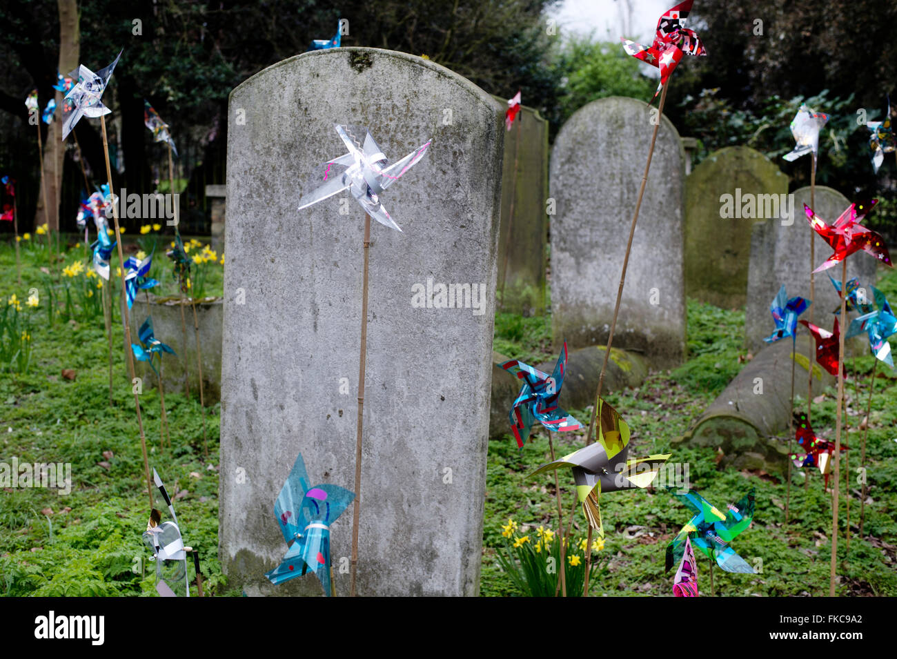 Old Church, Stoke Newington, Hackney. Windmills in the graveyard part of an event called Tilt, a community arts - Stock Image