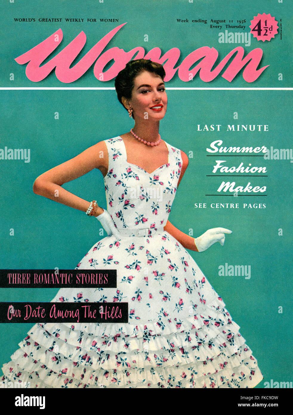 Fashion Magazine Cover 1950s Stock Photos & Fashion