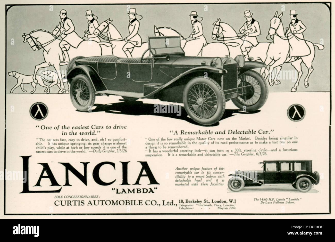 1920s UK Lancia Magazine Advert - Stock Image