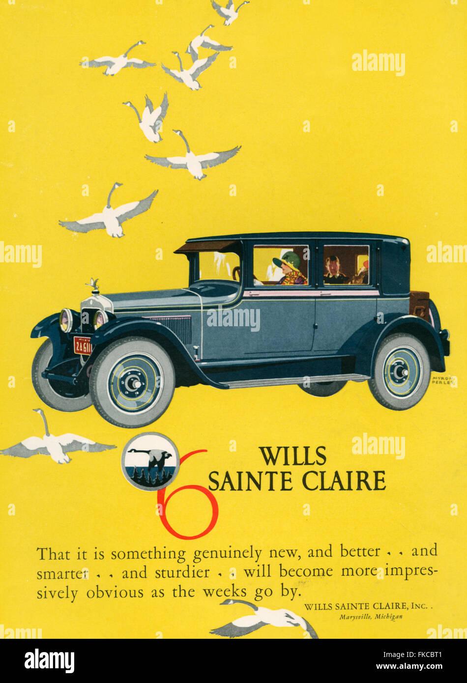 1920s USA Wills-Sainte Claire Magazine Advert - Stock Image