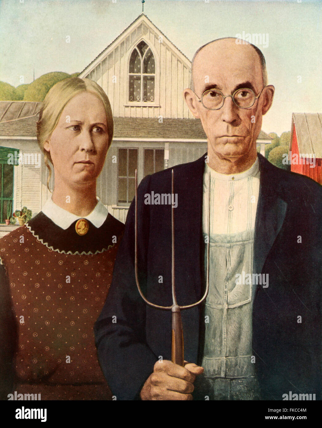 1930s USA American Gothic Book Plate - Stock Image