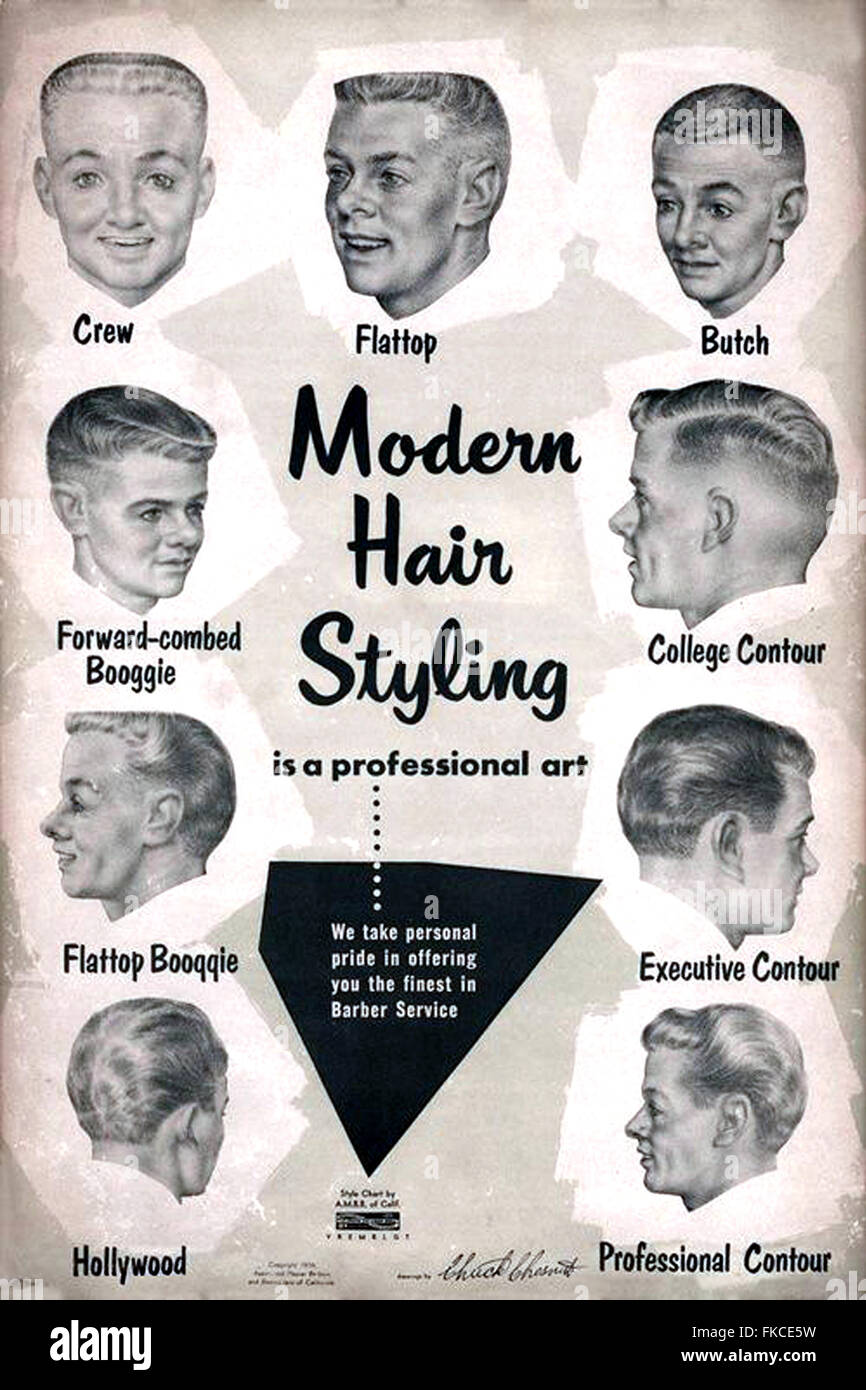 1950s Usa Barbershop Haircut Charts Book Plate Stock Photo 98004869