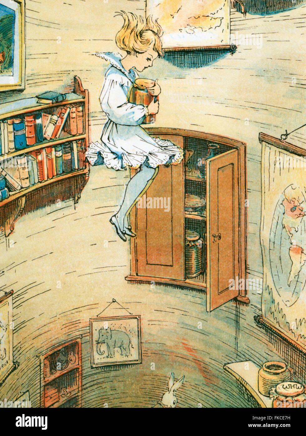 1900s UK Alice in Wonderland Book Plate - Stock Image