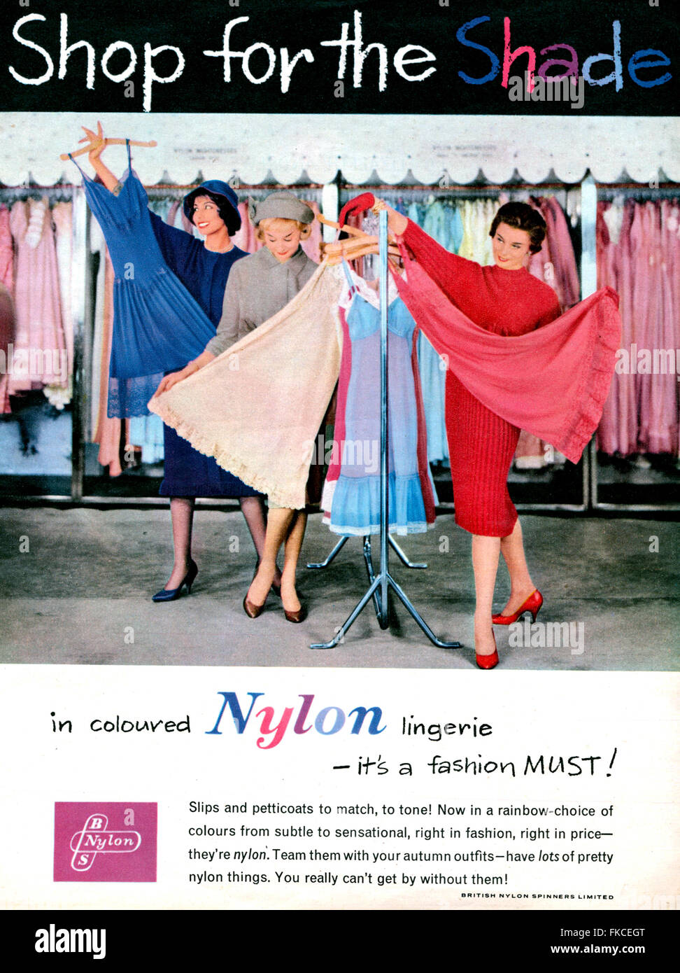 1950s UK British Nylon Spinners Magazine Advert - Stock Image