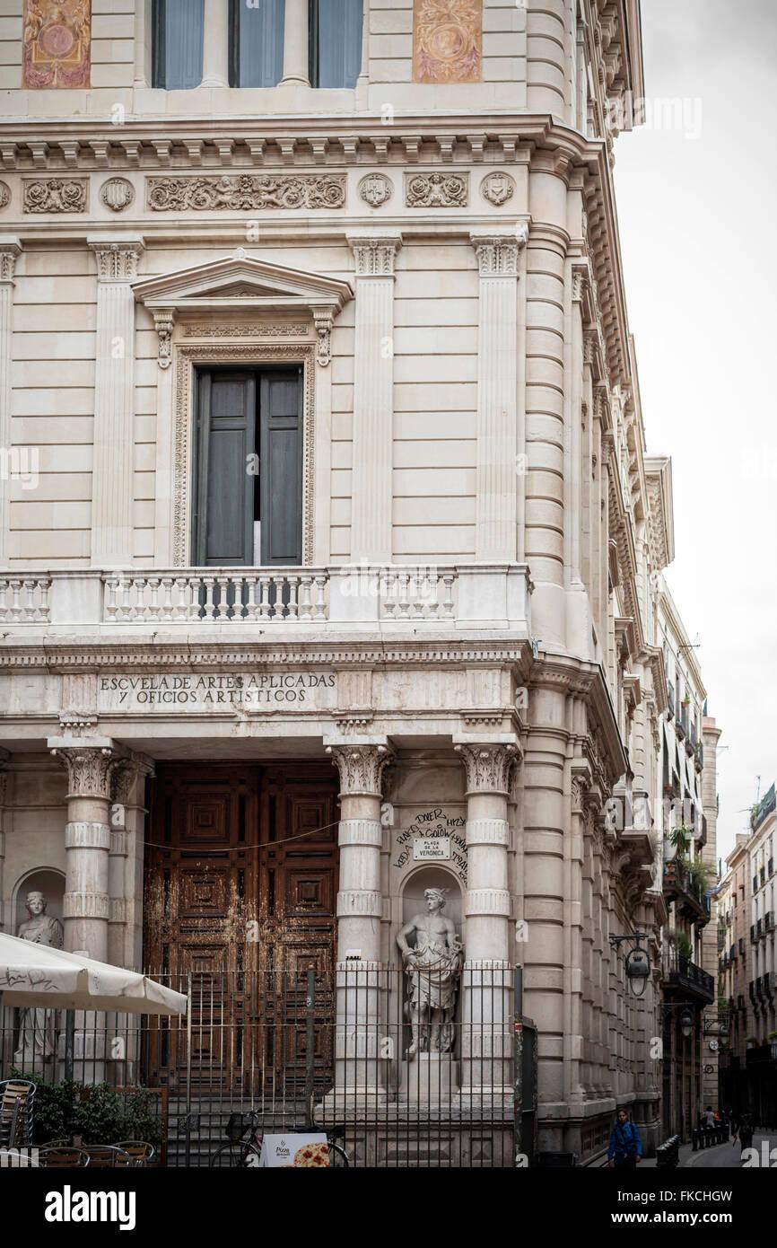 Neoclassic building, by Tiberi Sabater, Barcelona. - Stock Image