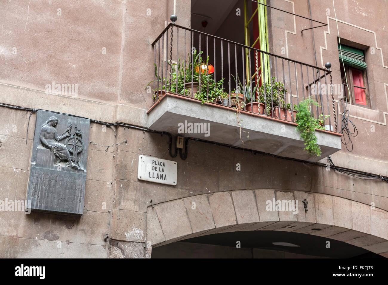Plaça de la Llana, barrio de la Ribera, Barcelona. - Stock Image