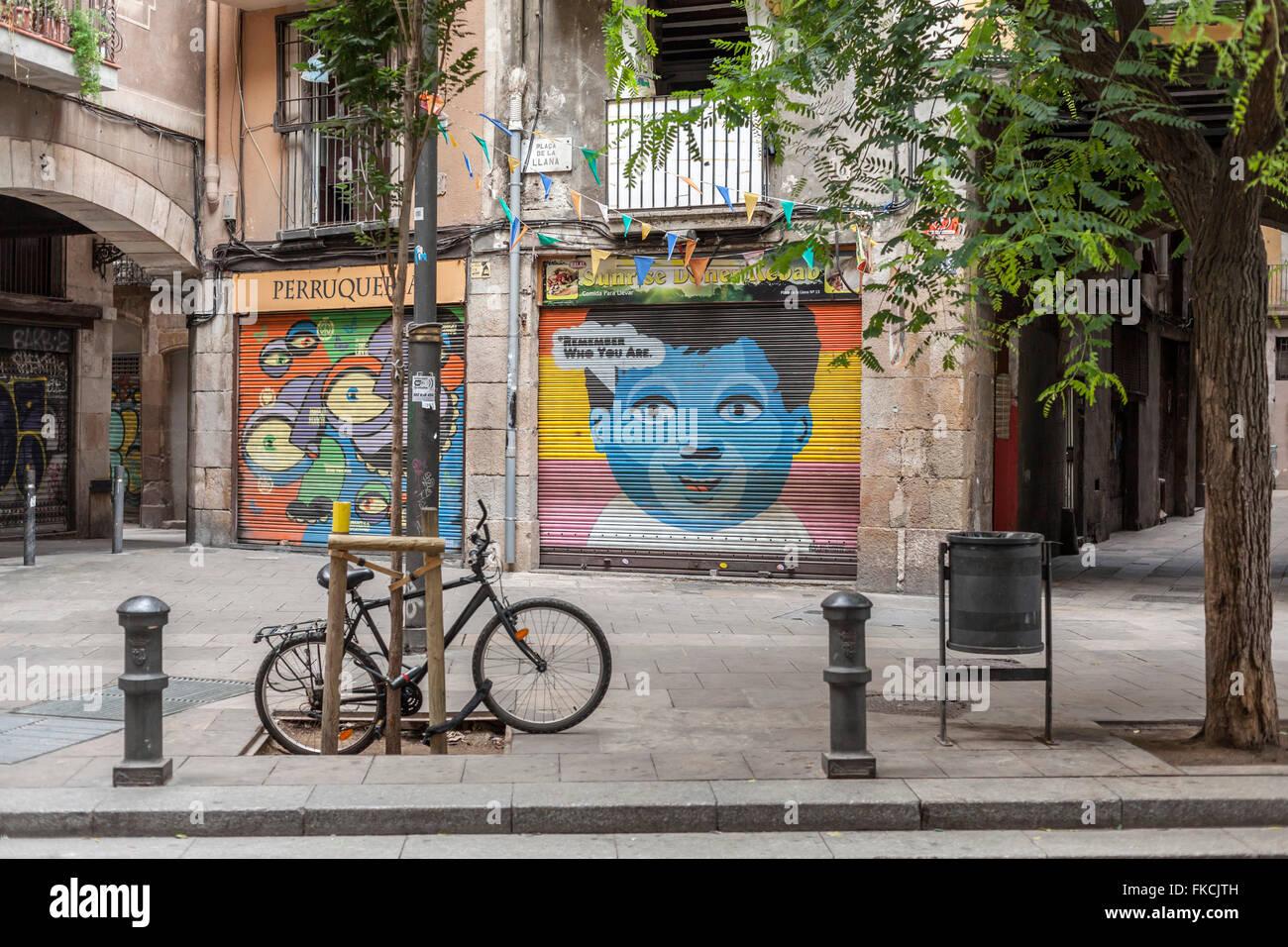 Street view, Ciutat Vella, Barcelona. - Stock Image
