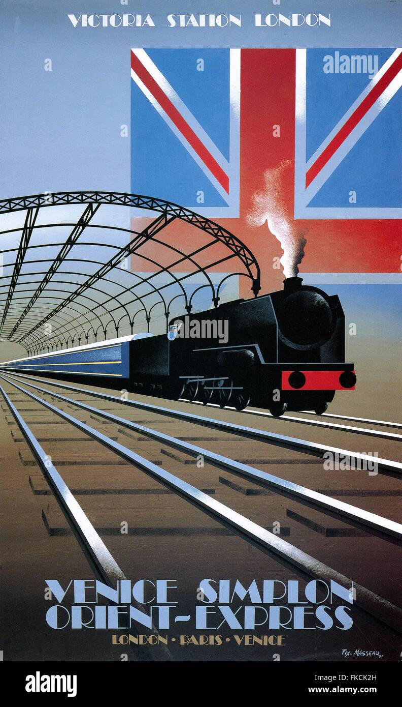 1980s France Victoria Station Poster - Stock Image