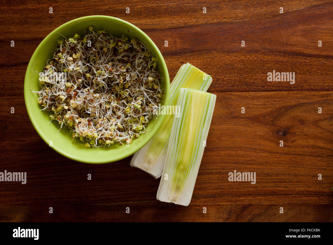 Fresh green and white vegetables - Stock Image