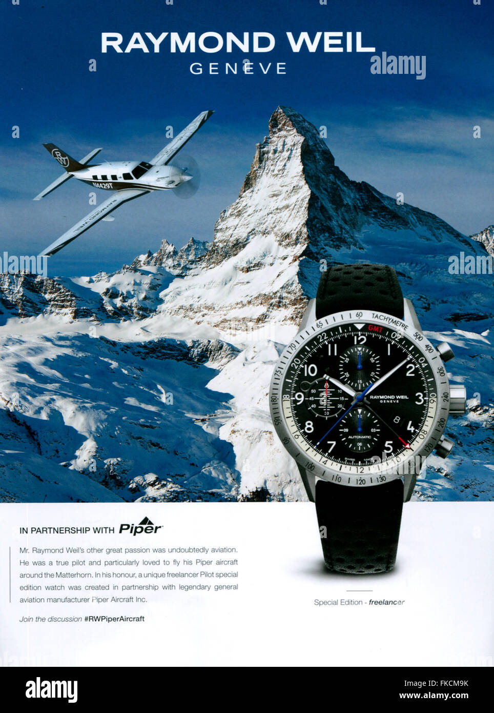 2010s UK Raymond Weil Magazine Advert - Stock Image