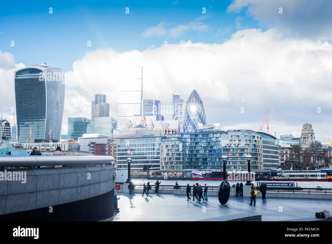 The financial district as viewed from across the River Thames, UK - Stock Image
