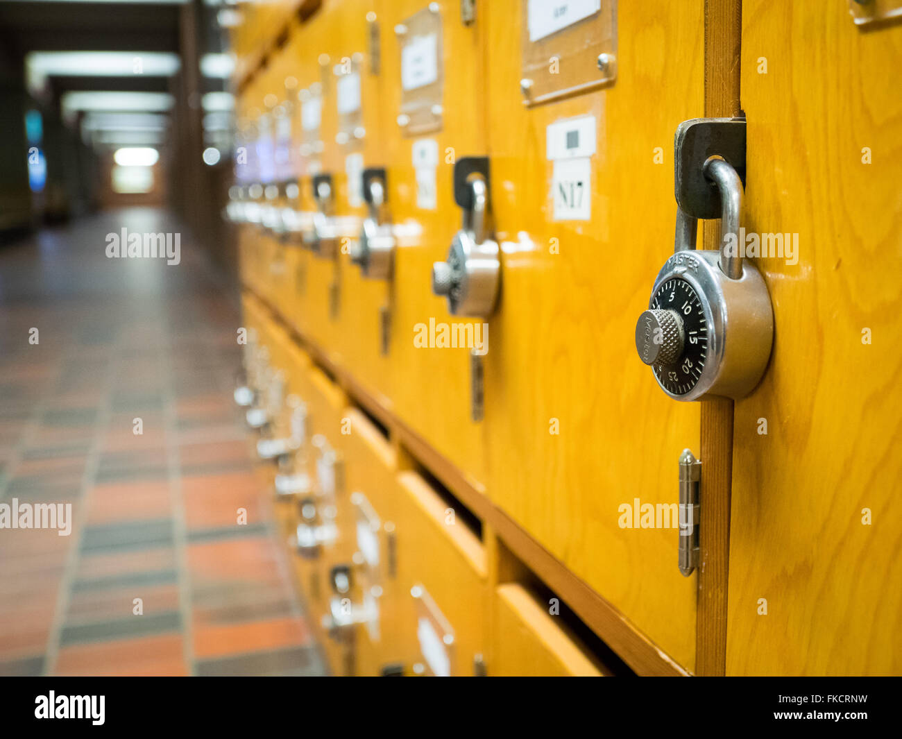 Combination locks on wooden lockers in a hallway at the Central Academic Building at the University of Alberta. - Stock Image