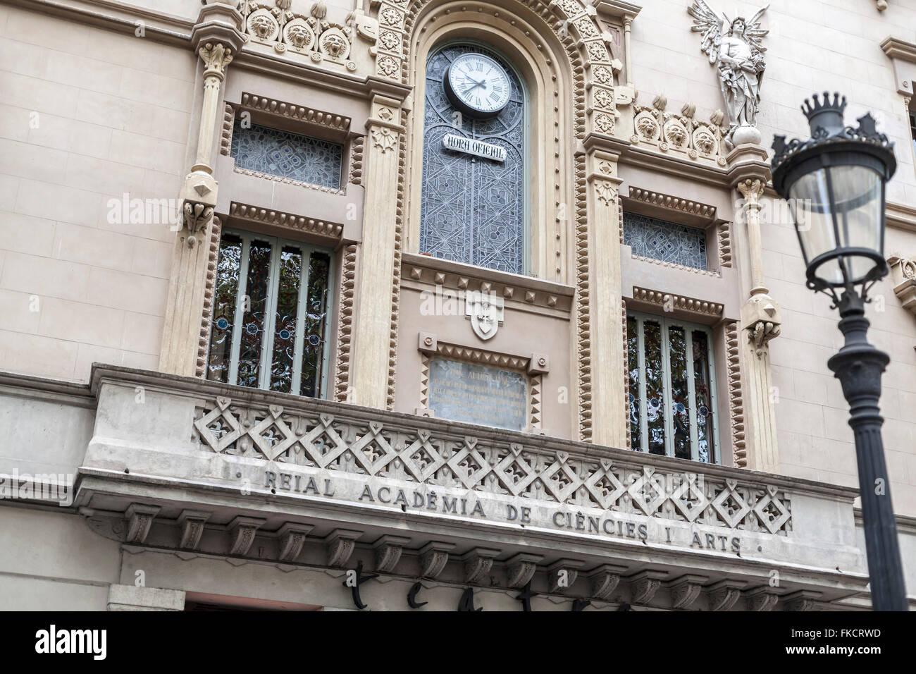 Reial Acadèmia de Ciències i Arts, by Josep Domènech Estapà. Hosts Theater Poliorama, La Rambla, - Stock Image