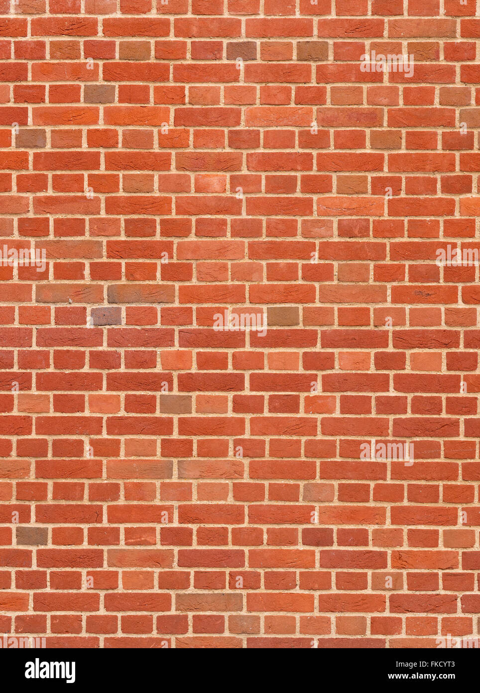 Modern wall with rows of red bricks close up. - Stock Image