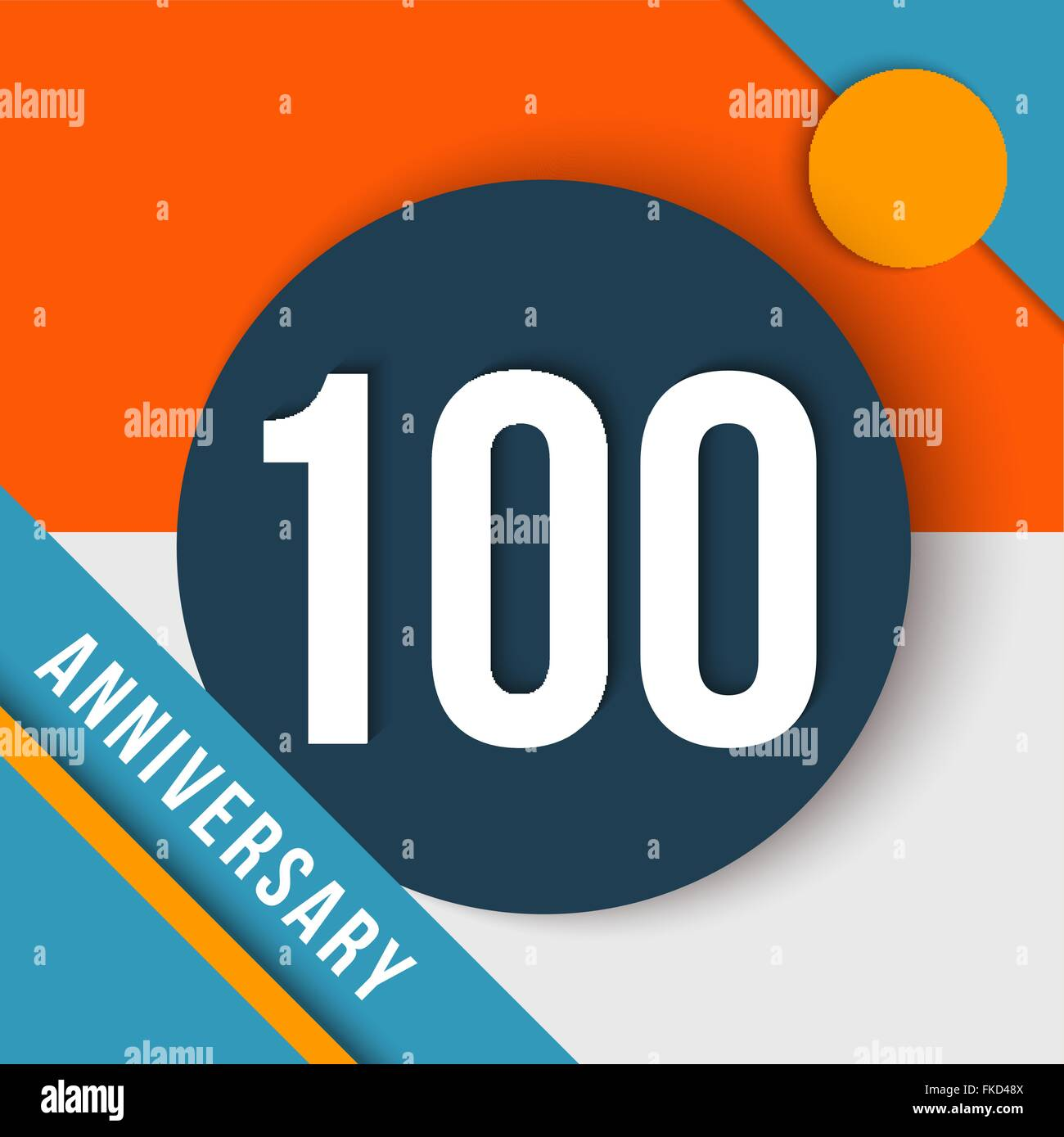 100 hundred year anniversary modern concept with number, text label and abstract shapes in material design style. - Stock Vector